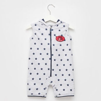 Star Print Sleeveless Romper with Hood and Zip Closure
