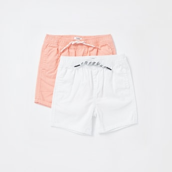 Set of 2 - Solid Shorts with Pocket Detail and Drawstring Closure