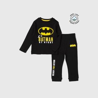 Batman Print Long Sleeves T-shirt and Pyjama Set