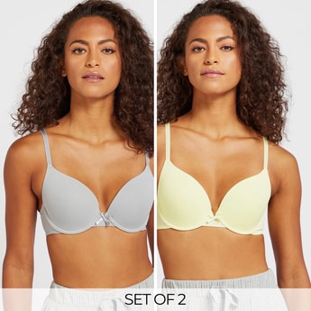 Pack of 2 - Solid Underwired Padded Plunge Bra with Adjustable Straps