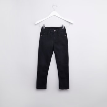 Plain Jeans with Pocket Detail and Belt Loops