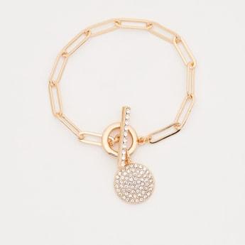 Embellished Charm Bracelet with Toggle Closure