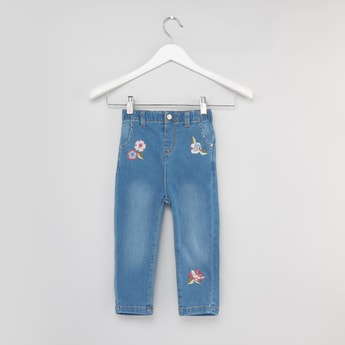 Full Length Jeans with Embroidery and Pocket Detail