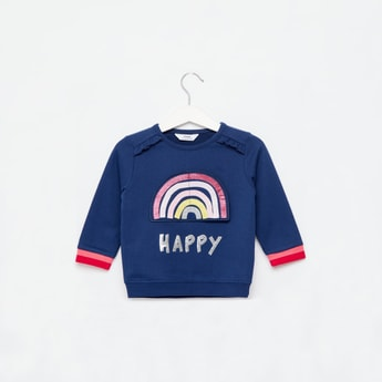 Embellished Round Neck Sweatshirt with Rainbow Applique