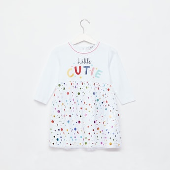 Slogan Print Dress with Long Sleeves and Snap Button Closure