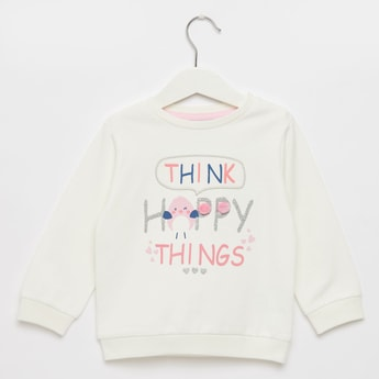 Graphic Print Sweat Top with Long Sleeves and Applique Detail