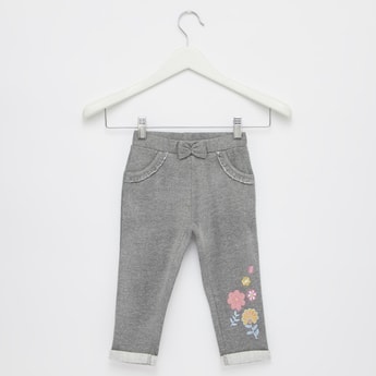 Full Length Floral Embroidered Pants with Bow Accent