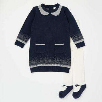 Printed Sweater Dress with Long Sleeves and Closed Feet Stockings