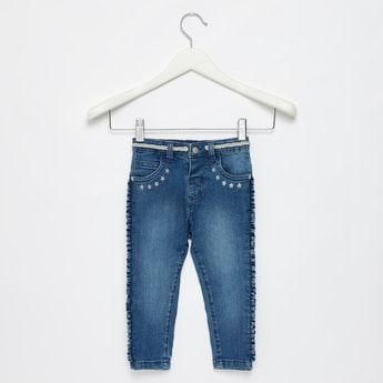 Star Print Full Length Jeans with Side Frill Accent and Belt