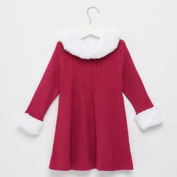 Textured Sweater Dress with Long Sleeves and Plush Collar