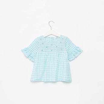 Checked Round Neck Top with Smocked Yoke and Button Closure