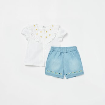 Embroidered Detail Top with Textured Shorts Set