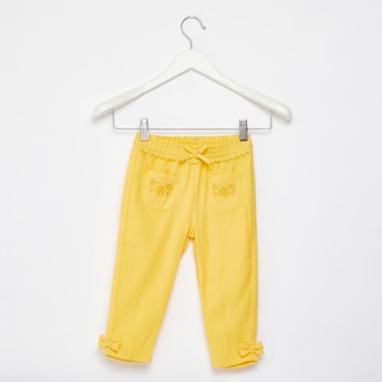 Solid Pull-On Pants with Embroidered Patch Pockets and Bow Accents
