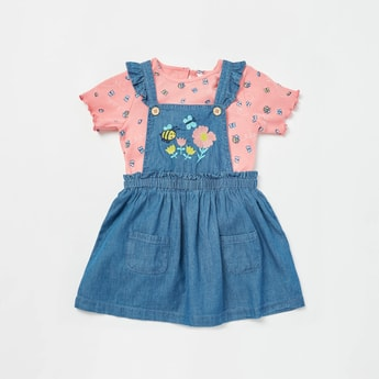 All-Over Print Ribbed T-shirt with Embroidered Detail Dungaree Set