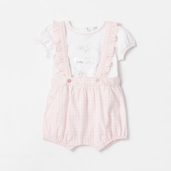 Foil Print T-shirt with Checked Dungarees