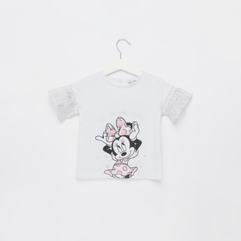 Minnie Mouse Print T-shirt with Short Sleeves and Lace Detail
