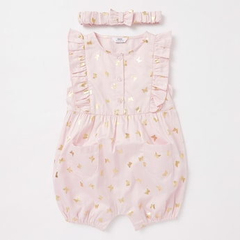 Butterfly Foil Print Sleeveless Romper with Hairband