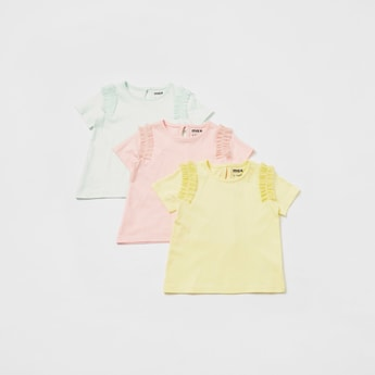 Pack of 3 - Solid T-shirt with Short Sleeves and Mesh Ruffle Detail