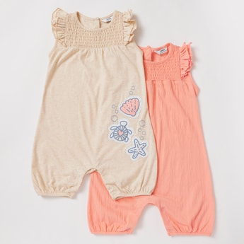 Set of 2 - Assorted Rompers with Round Neck and Frill Detail