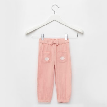 Textured Jog Pants with Pockets and Bow Applique