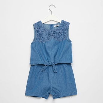 Sleeveless Round Neck Denim Jumpsuit with Lace Yoke