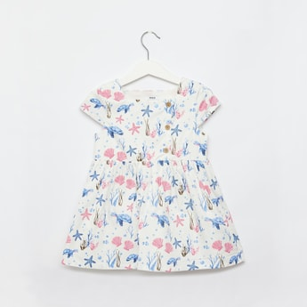 Shells Print Knee Length Dress with Square Neck and Cap Sleeves