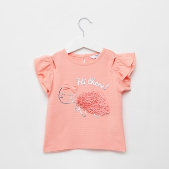 3D Tortoise Print T-shirt with Applique Detail and Cap Sleeves