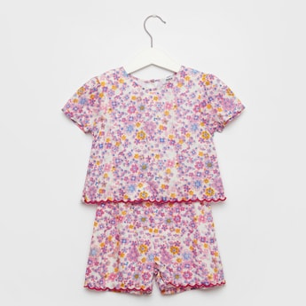 Floral Print Playsuit with Round Neck and Cap Sleeves