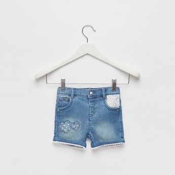 Embroidered Denim Shorts with 5-Pockets