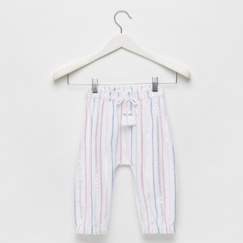 Striped Harem Pants with Elasticated Waistband and Tassel Accent