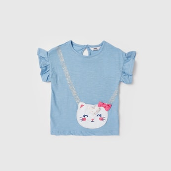 Applique Detail T-shirt with Round Neck and Cap Sleeves