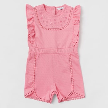 Textured Romper with Frill Detail and Cap Sleeves