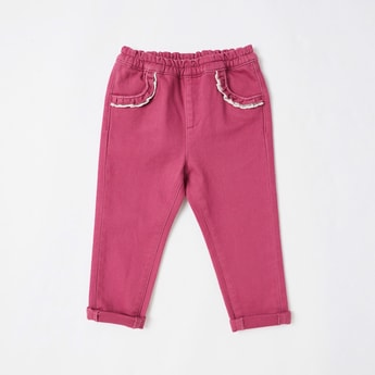 Solid Full Length Pants with Ruffle Detail and Elasticated Waistband