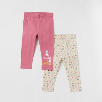 Set of 2 - Printed Mid-Rise Leggings with Elasticated Waistband