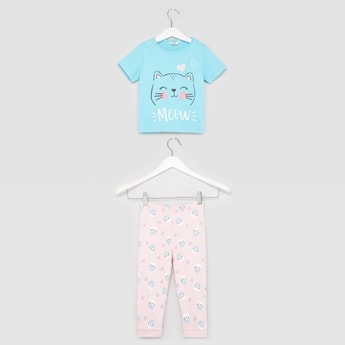 Cat Print Short Sleeves T-shirt and Pyjama Set