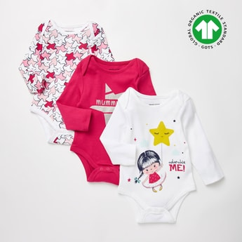 Set of 3 - Assorted GOTS Organic Cotton Bodysuit with Long Sleeves