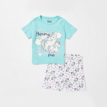 Unicorn Print Round Neck T-shirt and Shorts Set