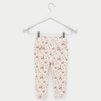 Floral Print Pants with Bow Applique