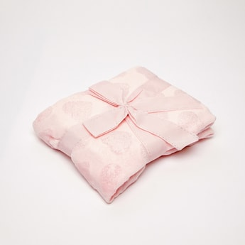 Heart Embossed Fleece Blanket - 80x80 cms