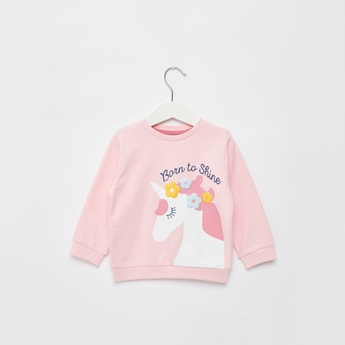 Unicorn Print Sweat Top with Applique Detail and Long Sleeves
