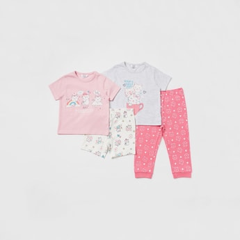 Cat Graphic Print 4-Piece Sleepwear Set