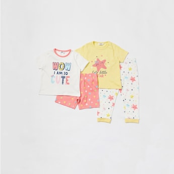 Graphic Print 4-Piece Sleepwear Set
