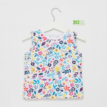 All-Over Floral Print Sleeveless Top with Round Neck