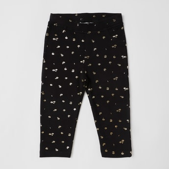 Floral Foil Print Pants with Elasticised Waistband