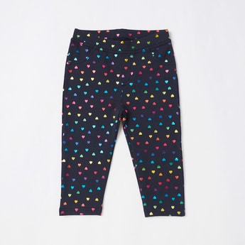 Heart-Shaped Foil Print Pants with Elasticised Waistband