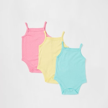 Pack of 3 - Solid Sleeveless Bodysuits with Button Closure