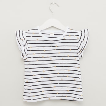 Striped Round Neck Top with Cap Sleeves and Glitter Detail