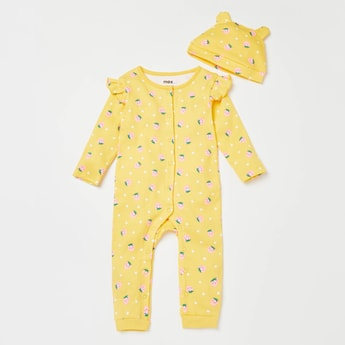 All-Over Strawberry Print Long Sleeves Sleepsuit with Cap