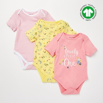 Set of 3 - Assorted GOTS Organic Cotton Bodysuit with Short Sleeves