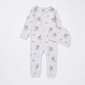 Printed Round Neck Sleepsuit and Beanie Cap Set